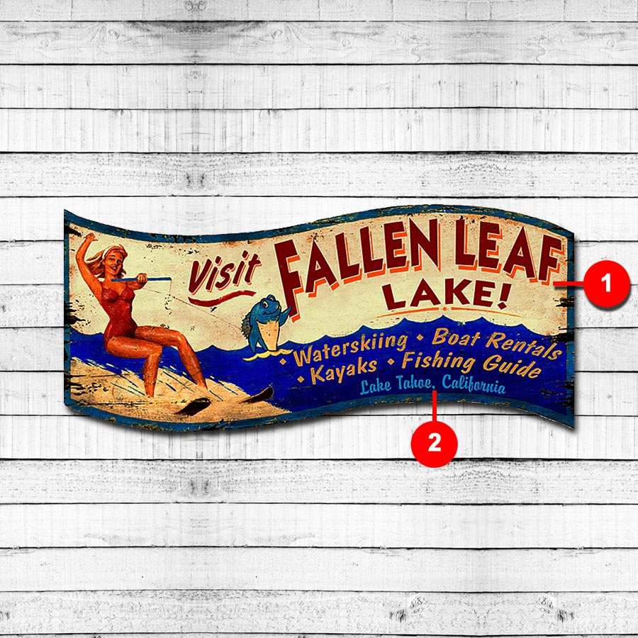 Water Skiing Personalized Cabin Sign