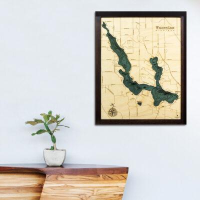 Walloon Lake 3d wood map, Walloon Lake poster