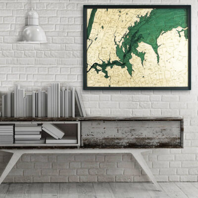 West Long Island NY 3d wood map, West Long Island poster