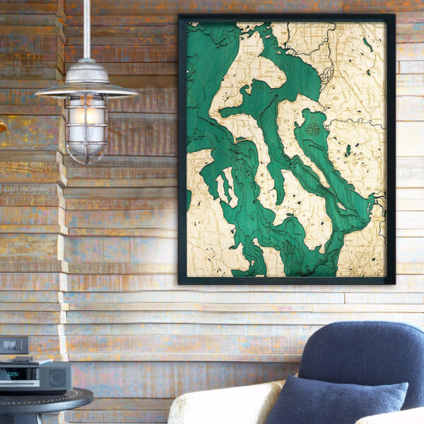 Whidbey and Camano Islands 3d wood map