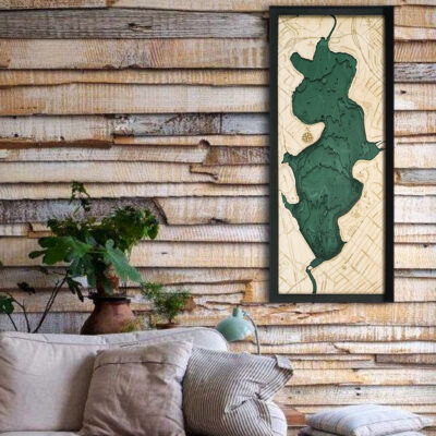 White Rock Lake Texas wood map 3d poster