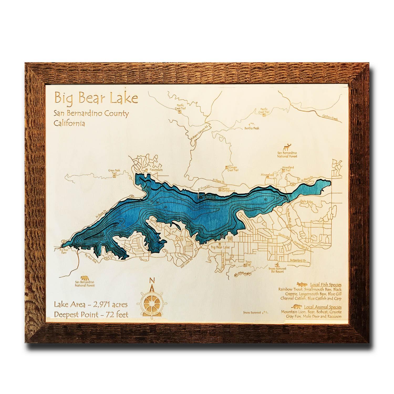 Big Bear Lake, CA 3D Nautical Wood Map, Barnwood Frame, 14