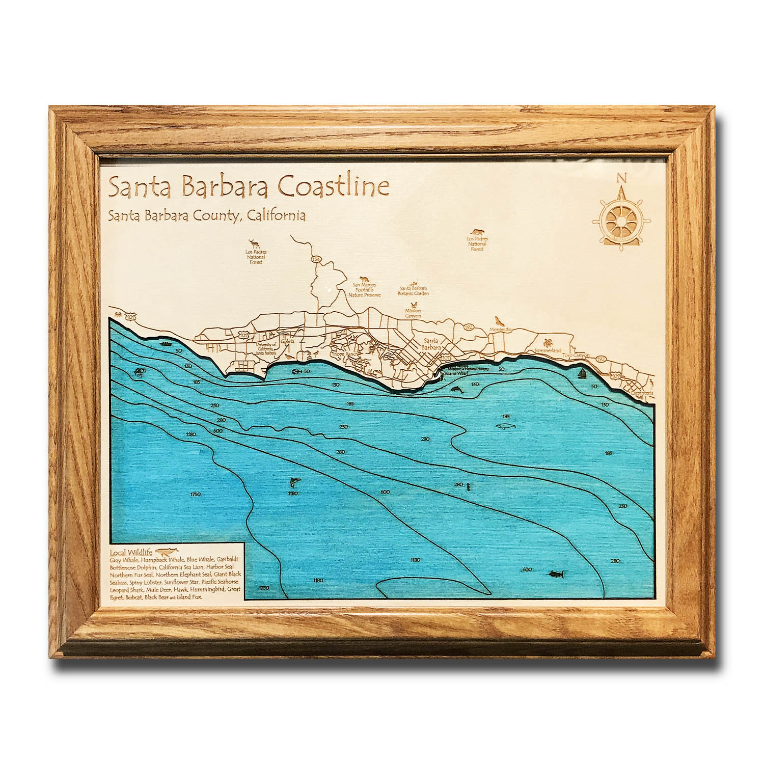 Santa Barbara Coast laser-etched wood map, laser-printed poster wall art
