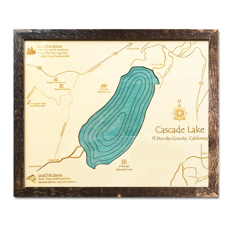 "Cascade Lake, CA Single-Depth Nautical Wood Chart, 11"" x 14"""