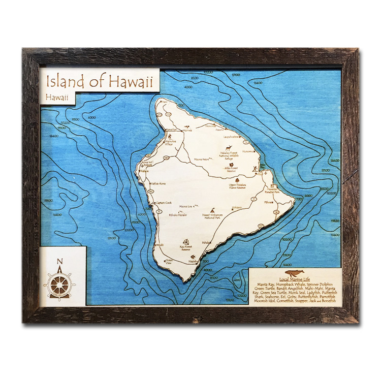 hawaii wood map with 3d topography