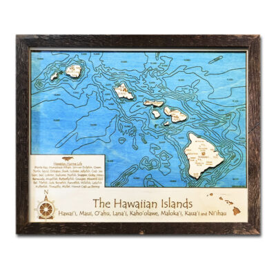 Hawaiian Islands Wood Map