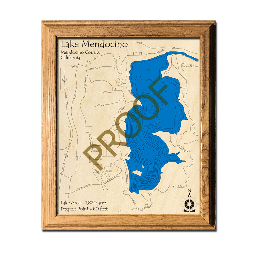 Lake Mendocino CA laser-etched wood map, laser-printed poster wall art
