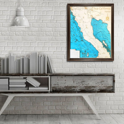baja california 3d wood map