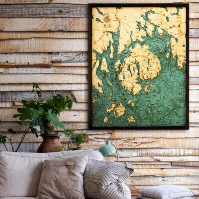Bar Harbor Maine 3D Wooden Map