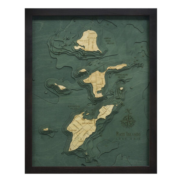 wood map of the bass islands lake erie