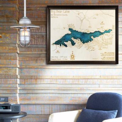 big bear lake ca 3d wood map
