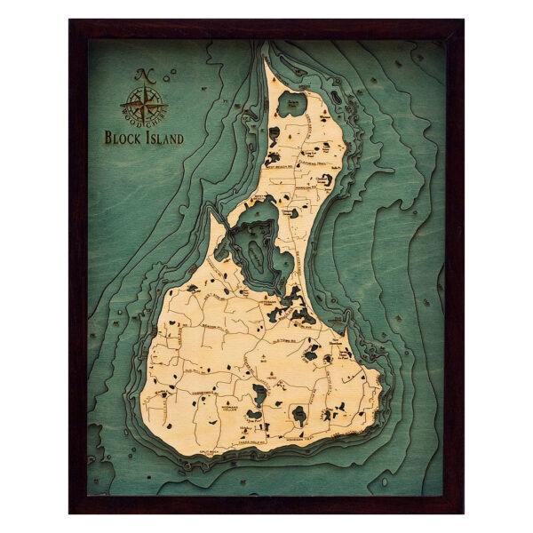 Block Island, RI 3D Wood Map | 3D Topographic Wood Chart