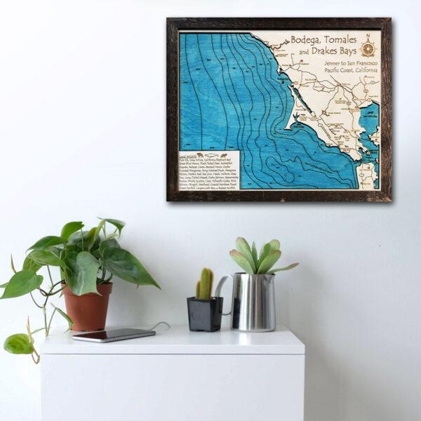 Bodega Bay wood map decor