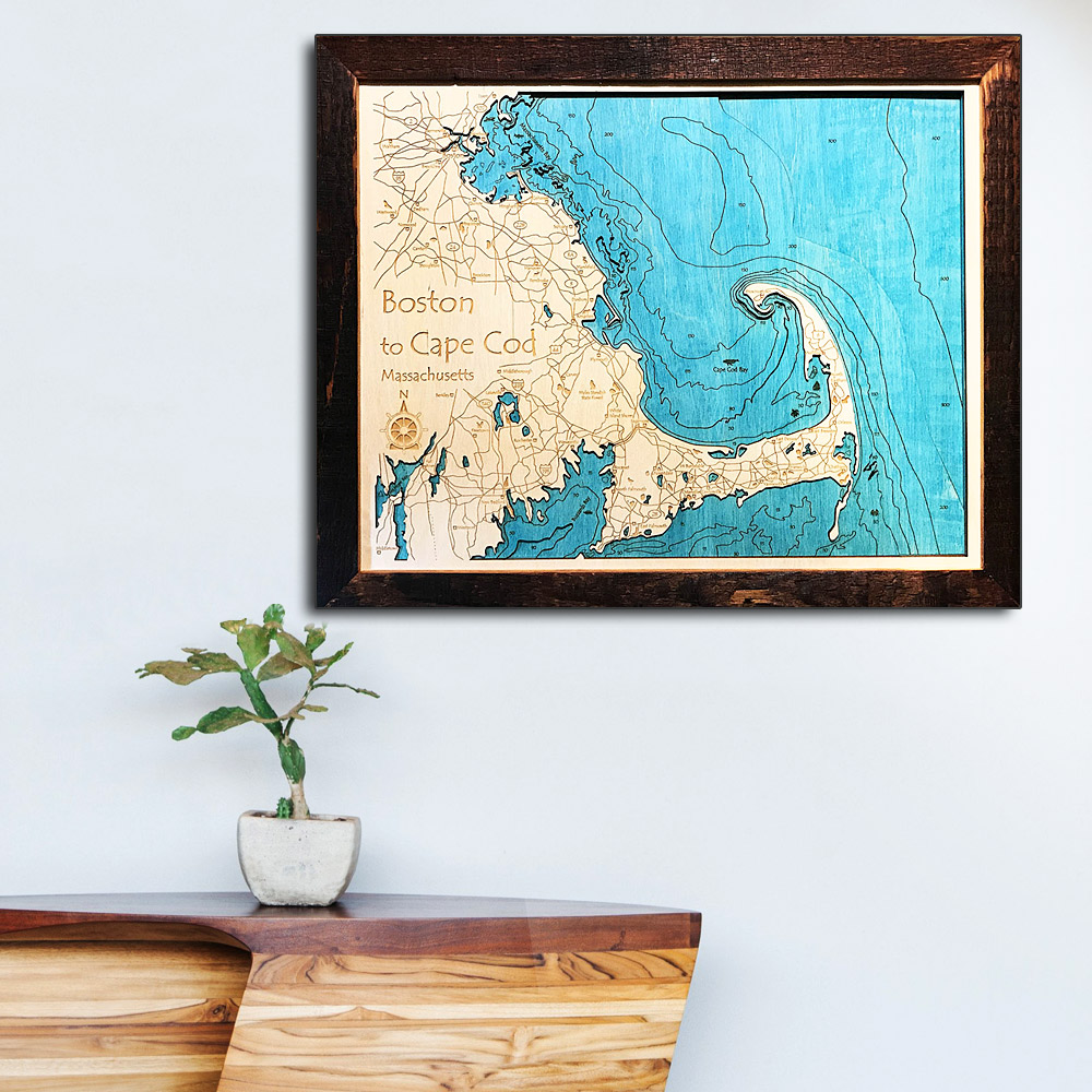 Cape Cod Wooden Map, Cape Cod 3D Nautical Map Decor