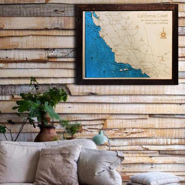 California Coast wood map 3d laser printed poster wall art
