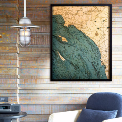 California Coast wood map 3d poster