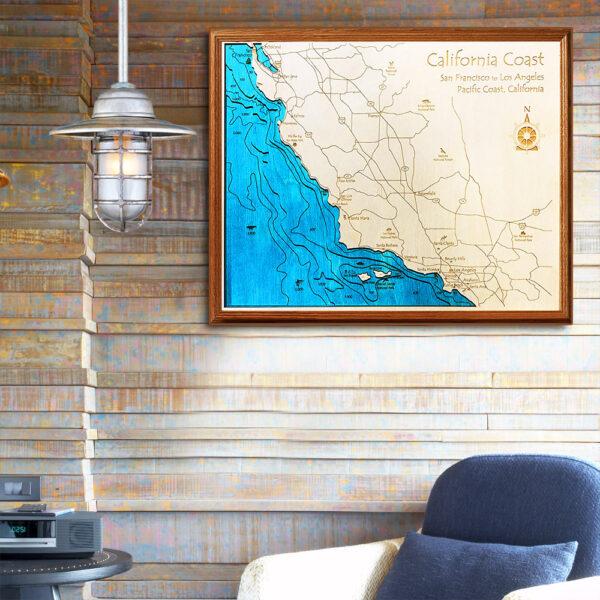 California Coast 3d wood map