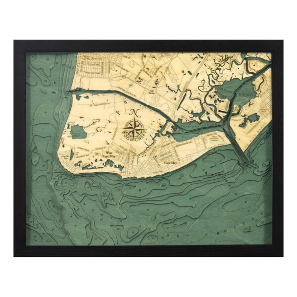Cape May Wood Map in 3d Jersey Shore