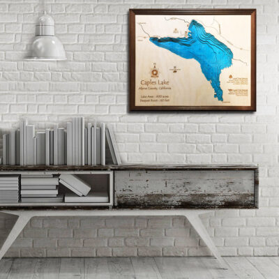 Caples Lake CA 3d wood map