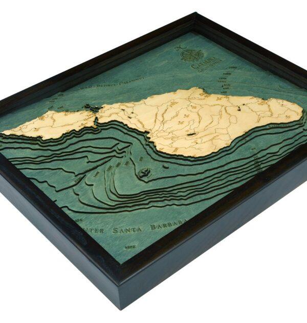 Catalina Island, California 3D Wood Map