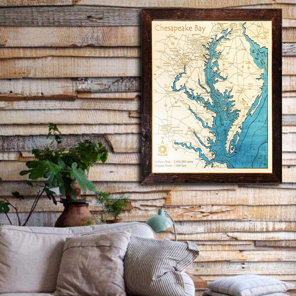 Chesapeake Bay wood map 3d poster