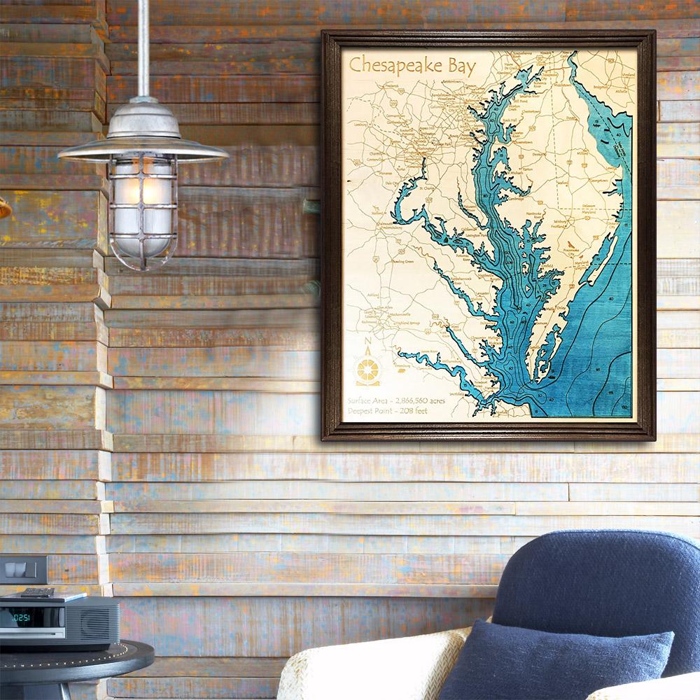 Chesapeake Bay Wood Map Framed