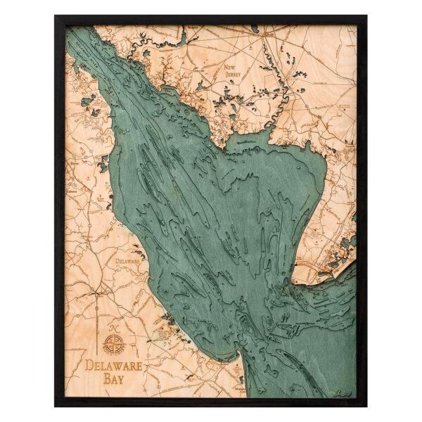Delaware Bay 3-D Nautical Wood Chart, 24.5″ x 31″