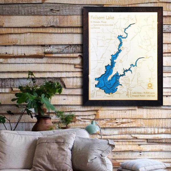 Folsom Lake, CA 3d wood map poster print