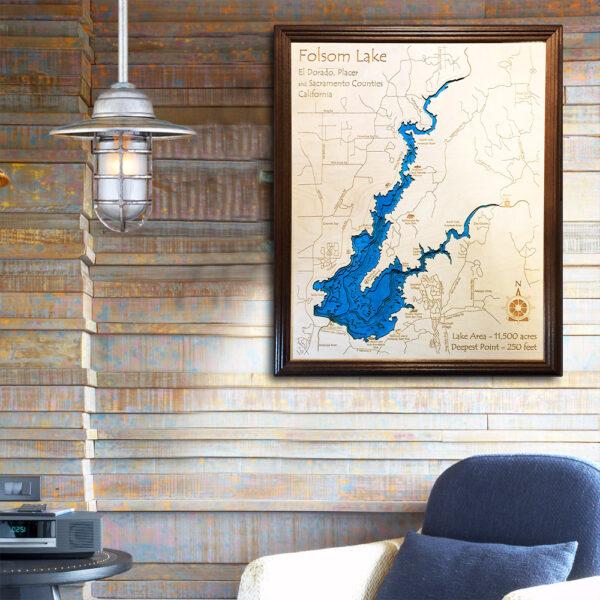 Folsom Lake 3d wood map