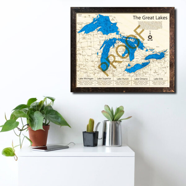 Great Lakes 3d wood map printed poster