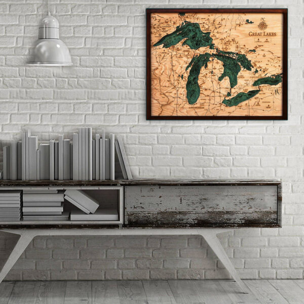 Great Lakes wood map, Great Lakes poster