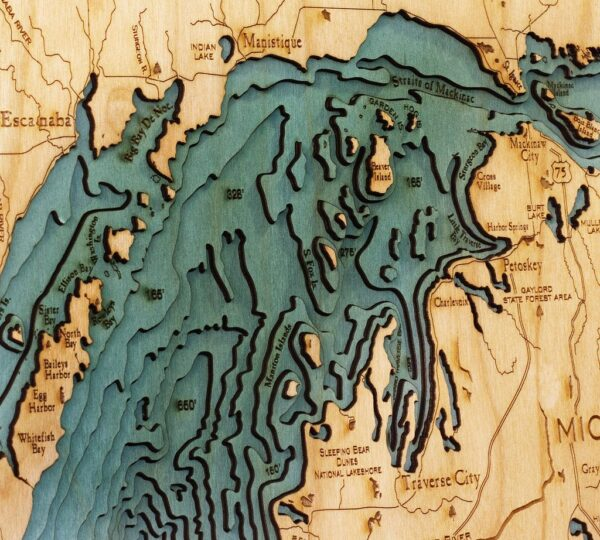 wood chart of the great lakes zoomed