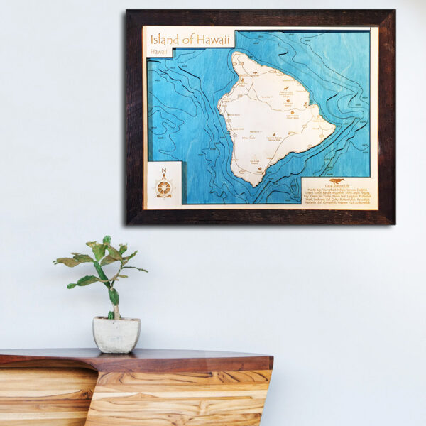 Hawaii 3d wood map laser printed poster