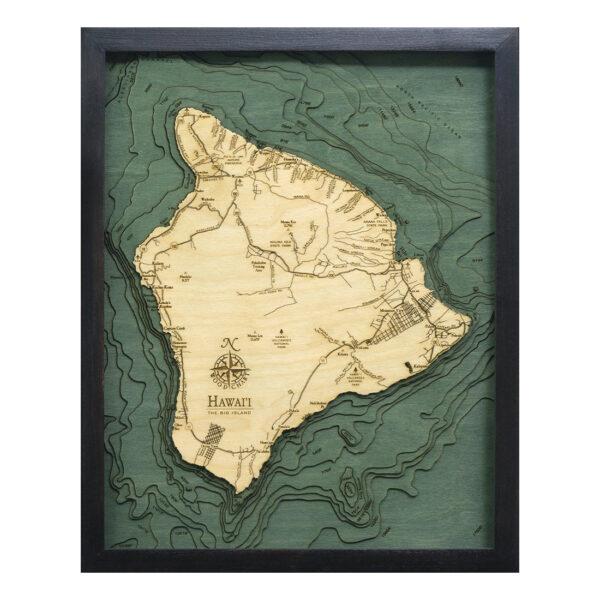 3d Wood Map of Hawaii