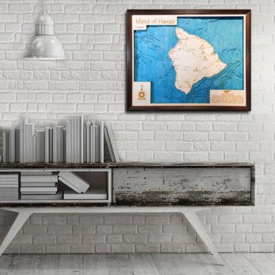 Hawaii 3d wood map