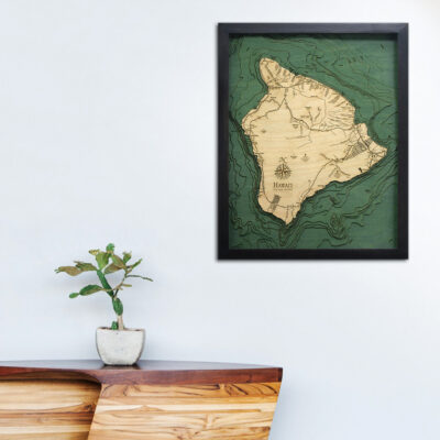 Hawaii 3d wood map, Hawaii poster, wall decor