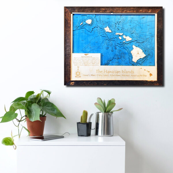 Hawaiian Islands wood map laser printed 3d poster