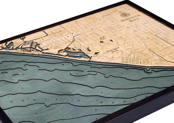Huntington Beach, California 3-D Nautical Wood Chart