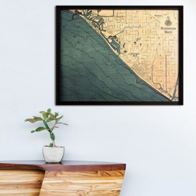Huntington Beach 3d wood map, Huntington Beach poster
