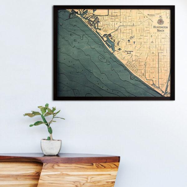 Huntington Beach 3d wood map, Huntington Beach poster