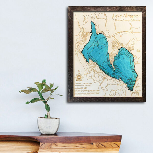 Almanor lake wood map for sale