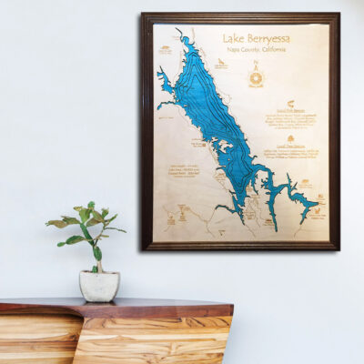 Berryessa Lake 3d wood map