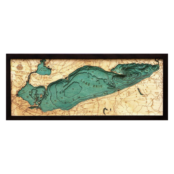 Lake Erie 3D Wood Maps