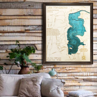 Lake Mendocino 3d wooden map