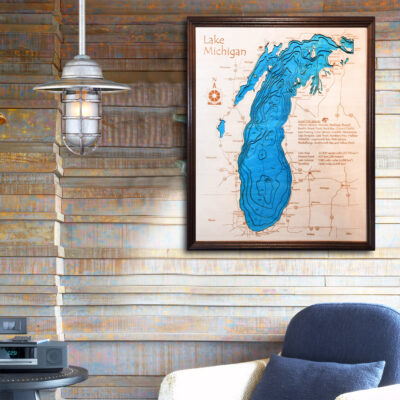 Lake Michigan 3d wood map