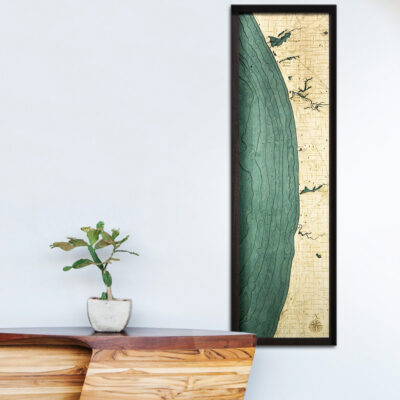 Lake Michigan eastern shore map, 3d wood poster