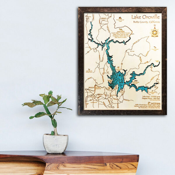 Lake Oroville wood map for sale, Lake Oroville gifts souvenirs