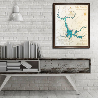Lake Oroville 3d wooden map