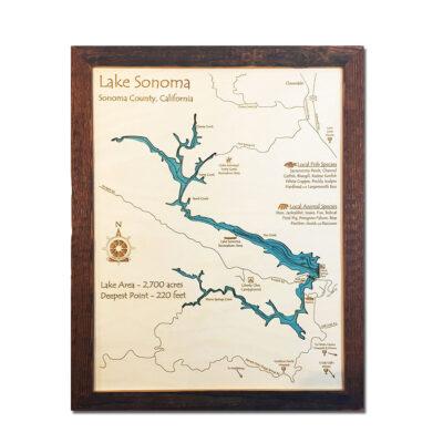 Lake Sonoma, CA laser printed map 3d wooden framed home decor