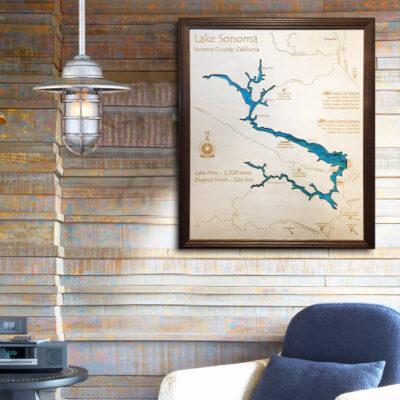Lake Sonoma 3d wood map